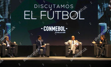 Former Brazilian coach Carlos Alberto Parreira (L), and former players, Argentinian Javier Zanetti (2-L), French David Trezeguet (2-R) and Argentinian Oscar Ruggeri (R), during the opening of the global symposium on the present and future of soccer in South America, which featured legends of South American Soccer, at the headquarters of Conmebol in Luque, Paraguay, 17 May 2017. President of the South American Football Confederation (CONMEBOL), Alejandro Domínguez, today highlighted the transparency, order and implementation of technologies as the axis of his management at the head of 'a new Conmebol', whose renewed corporate image was presented today in Asuncion.