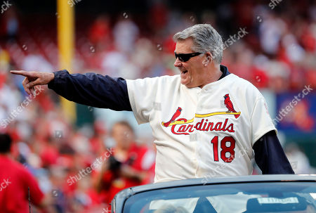 Mike Shannon, a member of the St. Louis Cardinals' 1967 World Series championship team, takes part in a ceremony honoring the 50th anniversary of the victory before the start of a baseball game between the St. Louis Cardinals and the Boston Red Sox, in St. Louis