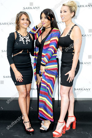 Antonella Roccuzzo, Daniella Semaan and Sofia Balbi attend the opening of a new Sarkany shoes store in Barcelona.