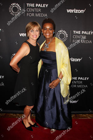 Dorothy Hamill and Rose Kirk (President; Verizon Foundation)
