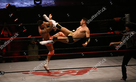 Stock Picture of Aaron Rammy (R) fights with Adam Flex during a wrestling match in Karachi, Pakistan, 17 May 2017 (issued 18 May 2017). Some 20 international wrestlers, including former WWE star Wade Barrett, arrived in Pakistan to showcase their skills to Pakistani fans and entertain them with some top level pro-wrestling competition.