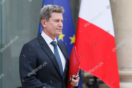 Louis Gautier, head of the French Secretariat-General for National Defense and Security (SGDNS), leaves the Elysee Palace after a security council, in Paris