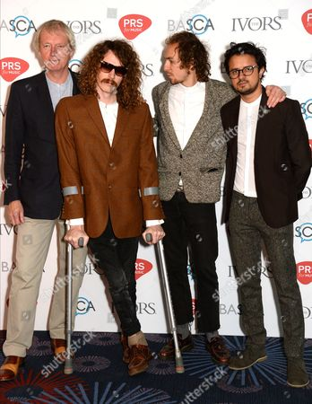 Blaine Harrison (second left) with William Rees, Jack Flanagan and Kapil Trivedi of Mystery Jets