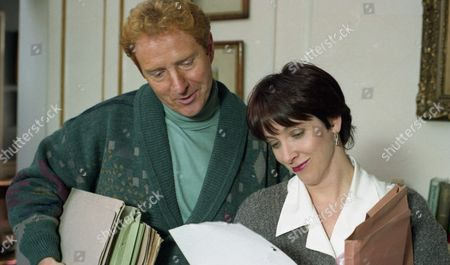 It is Sarah's first day at work and she is warmly welcomed by Professor McKinnon at his house. He seems very relaxed and lives alone - With Professor Andrew McKinnon, as played by Michael J Jackson, and Sarah Sugden, as played by Alyson Spiro. (Ep 1935 - 3rd January 1995).