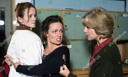 Tina picks on Jessica at school and Angharad intervenes - With Jessica McAllister, as played by Camilla Power ; Angharad McAllister, as played by Amanda Wenban, and Tina Dingle, as played by Jacqueline Pirie. (Ep 1936 - 5th January 1995).