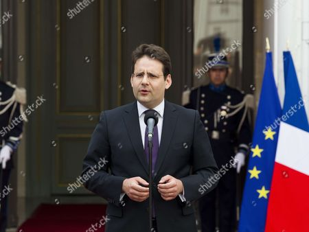 Stock Image of Former French interior minister Matthias Fekl is pictured during an official handover ceremony