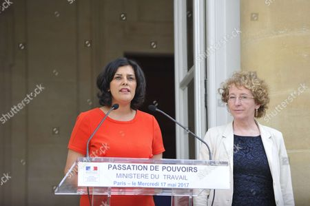 Outgoing French Labour Minister Myriam El Khomri and her successor Muriel Penicaud during an official handover ceremony