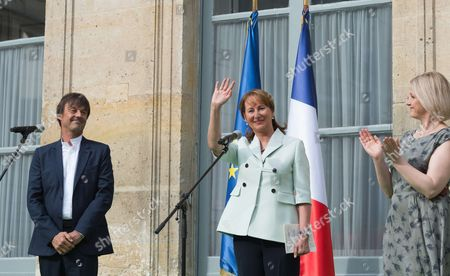 Appointed French Ecology Minister Nicolas Hulot and outgoing French Minister for Ecology, Sustainable Development and Energy Segolene Royal and French Junior Minister for Biodiversity, Barbara Pompili