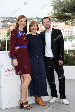 Stock Image of Valeska Grisebach with the Producers Janine Jackowski and Jonas Dornbach