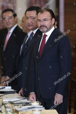 Mexican Foreign Secretary Luis Videgaray (R) and Secretary of Government Miguel Angel Osorio Chong (2-R) participate in the Strategic Dialogue on Disrupting Transnational Criminal Organizations with US Secretary of State Rex Tillerson and Secretary of Homeland Security John Kelly (both not pictured) at the State Department in Washington, DC, USA, 18 May 2017. The Mexican Foreign Minister is on an official visit to the US.