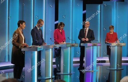 Caroline Lucas, Tim Farron, Leanne Wood, Paul Nuttall, Nicola Sturgeon