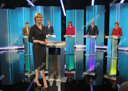Caroline Lucas, Tim Farron, Leanne Wood, Paul Nuttall, Nicola Sturgeon and presenter Julie Etchingham