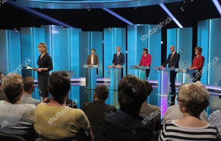 Julie Etchingham, Caroline Lucas, Tim Farron, Leanne Wood, Paul Nuttall and Nicola Sturgeon