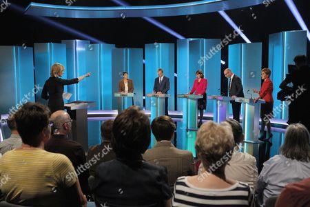 Julie Etchingham, Caroline Lucas, Tim Farron, Leanne Wood, Paul Nuttall, Nicola Sturgeon