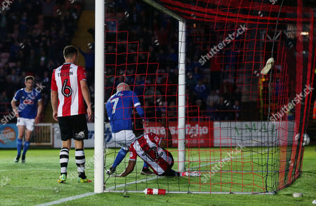 Jason Kennedy of Carlisle United scores his sides first goal  during the League Two Play-off semi-final second leg match between Exeter City and Carlisle United played at St James Park, Exeter on 18th May 2017