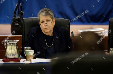 University of California President Janet Napolitano listens as State Auditor Elaine Howle gives a presentation during a meeting of the University of California Board of Regents, in San Francisco. California's state auditor were briefing the governing board of the University of California Thursday on findings that UC administrators hid $175 million in a secret reserve fund even as the system raised tuition and sought more public funding