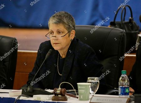University of California President Janet Napolitano listens during a meeting of the Board of Regents, in San Francisco. California's state auditor briefed the governing board Thursday on findings that UC administrators hid $175 million in a secret reserve fund even as the system raised tuition and sought more public funding. Auditor Elaine Howle says her office found murky budgeting practices in the office of UC President Janet Napolitano that failed to track expenditures and explain decision-making