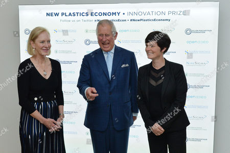 Wendy Schmidt (President, Schmidt Family Foundation and Lead Philanthropic Partner of the New Plastics Economy Innovation Prize), Prince Charles and Ellen MacArthur