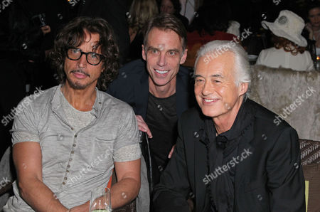 Chris Cornell, Matt Cameron and Jimmy Page at the Sunset Marquis to celebrate the release of a Jimmy Page Photography book