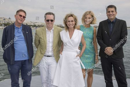 "(L-R) Lorenzo Codelli (italian film critic, jury of ""L'oeil d'Or""), Thom Powers (american programmer, jury of ""L'oeil d'Or""), Sandrine Bonnaire (french actress, film director, president of the jury ""L'oeil d'Or""), Lucy Walker (british film director, jury of ""L'oeil d'Or""), Dror Moreh (israeli film director, jury of ""L'oeil d'Or"")"
