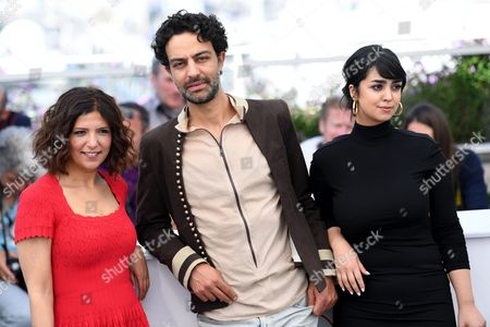 Stock Picture of Kaouther Ben Hania, Ghanem Zrelli and Mariam El Ferjani