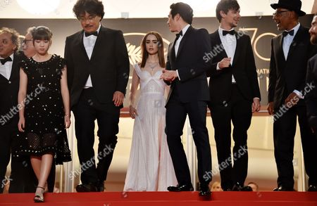 Seo-Hyeon Ahn, Bong Joon-Ho, Lily Collins, Steven Yeun, Devon Bostick and Giancarlo Esposito