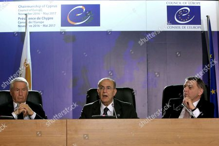 """Thorbjorn Jagland, Ioannis Kasoulides, Lubomir Zaoralek Secretary General of the Council of Europe Thorbjorn Jagland, left, Cypriot foreign minister Ioannis Kasoulides, center, and Czech Foreign minister Lubomir Zaoralek talk during a press conference after a session of the Committee of Ministers - Council of Europe in Nicosia, Cyprus, on . Jagland told the Associated Press in an interview that new laws enacted by some European countries that impede migrant children from reuniting with their families or force them to leave when they turn 18 create a """"huge security risk"""" by potentially turning youths to crime and terrorism"""