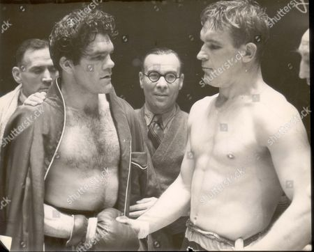 Freddie Mills (died 8/65) Defeats Stephan Olek On Pionts In 10 Round Fight At Belle Vue Photoshows:- Olek And Mills Shake Hands After The Fight.