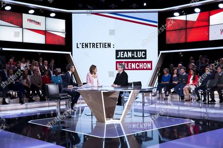 """Former French presidential election candidate Jean-Luc Melenchon, candidate in Marseille in the upcoming parliamentary elections for the far-left coalition """"La France insoumise"""" speaks with TV Show journalists Lea Salame and David Pujadas"""
