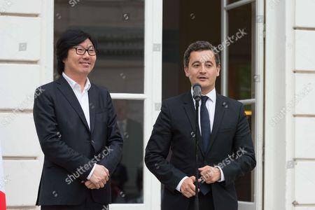 Jean-Vincent Place with his successor Gerald Darmanin