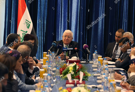 Iraqi President Fuad Masum (C) speaks during press conference in Amman Jordan on 19 MAY 2017. The Iraqi President is on an official visit to Jordan.