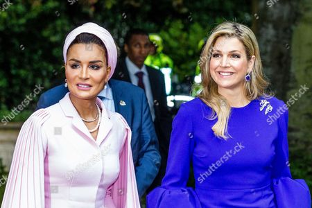 Stock Picture of Sheikha Mozah Bint Nasser Al Missned and Queen Maxima