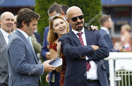 Dr Marwan Koukash with wife Mandy and Chester Chief Executive Richard Thomas after Powerallied had won the mbnateam Handicap at Chester. 29/2017