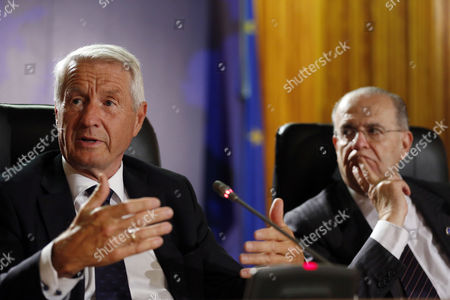 Secretary General of the Council of Europe Thorbjorn Jagland (L), Cyprus' Minister of Foreign Affairs Ioannis Kasoulides (R) attend a joint press conference after a session of the 127th Ministerial Session of the Committee of Ministers of the Council of Europe in Nicosia, Cyprus, 19 May 2017.