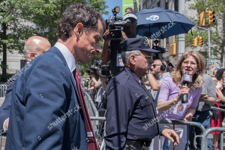 Former U.S. Rep. Anthony Weiner leaves Federal court, in New York. Weiner pleaded guilty to a charge of transmitting sexual material to a minor and could get years in prison