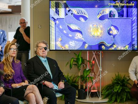 Dale Chihuly, Leslie Jackson Glass artist Dale Chihuly and his wife Leslie Jackson, left, attend a ceremony at the Fred & Pamela Buffett Cancer Center in Omaha, Neb., . Chihuly created 10 site-specific art installations at the new cancer center, designed to provide a place of respite and reflection for patients, families and staff dealing with cancer