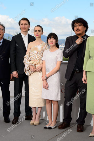 Paul Dano, Lily Collins, Ahn Seo-Hyun and Bong Joon-Ho