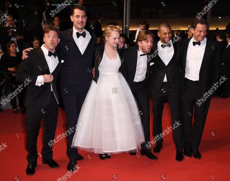 Stock Photo of Terry Notary, Claes Bang, Elisabeth Moss, Ruben Ostlund, Christopher Laesso and Dominic West