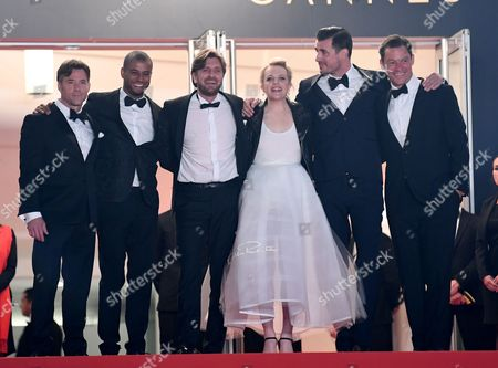 Stock Image of Terry Notary, Christopher Laesso, Ruben Ostlund, Elisabeth Moss, Claes Bang and Dominic West
