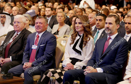 Stock Picture of (L-R) Iraqi President Fuad Masum, Jordan King Abdullah II, Jordan Queen Rania and Spanish King Felipe VI attend the opening ceremony of the World Economic Forum on the Middle East and North Africa, at the Dead Sea, west of Amman, Jordan, 20 May 2017. The World Economic Forum is having a Special Meeting on Economic Growth and Job Creation in the Arab World. The meeting will bring together participants from all over the world for discussions on best practices in economic policy.