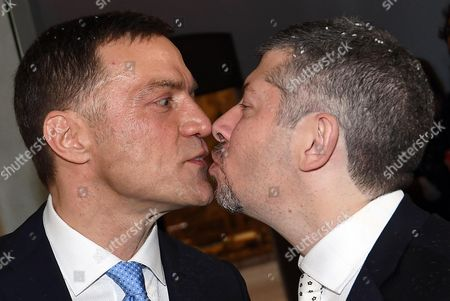Italian Undersecretary of State Ivan Scalfarotto (R) kisses his partner Federico at the end of their wedding ceremony after receiving rice from their friends at the Palazzo Reale in Milan, 20 May 2017. Italian Undersecretary of State Ivan Scalfarotto is the first Italian government member who is using the new Civil Union rules.