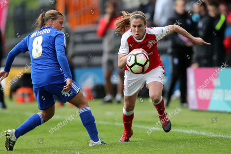 Sarah Mayling of Birmingham City Ladies and Heather O'Reilly of Arsenal Ladies during Arsenal Ladies vs Birmingham City Ladies, FA Women's Super League FA WSL1 Football at the Hive Stadium on 20th May 2017
