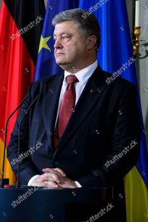Editorial image of Visiting Ukrainian president Poroshenko at the official guest house Schloss Meseberg, Gransee, Germany - 20 May 2017