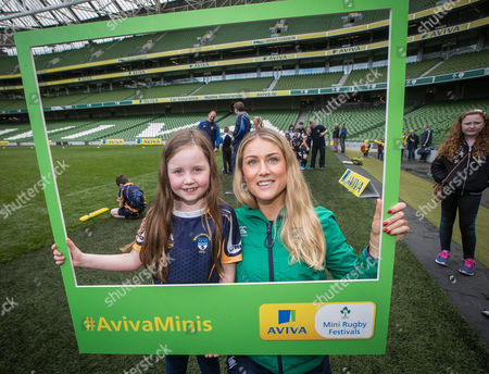 Stock Image of Aviva Mini Rugby Festival, Aviva Stadium, Dublin 20/5/2017. Katie Gallagher with Ireland Women's Megan Williams