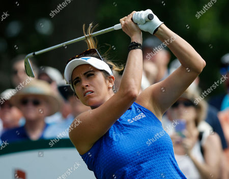 Gerina Piller watches her tee shot on the second hole during the third round of the Kingsmill Championship LPGA golf tournament in Williamsburg, Va