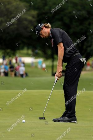 Willy Wilcox putts on the 11th green during the third round of the Byron Nelson golf tournament, in Irving, Texas