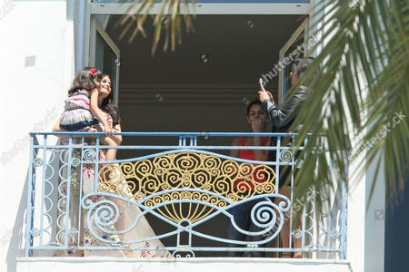 Editorial photo of CANNES: Taking photos on the balcony of Hotel Martinez, 