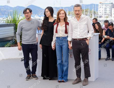 L-R: Joeng Jinyoung, Kim Min-Hee, Isabelle Huppert,   Hong Sang-soo
