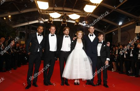 (L-R) Actor Christopher Laesso, British actor Dominic West, Swedish director Ruben Ostlund, US actress Elisabeth Moss, Dannish actor Claes Bang and US actor Terry Notary arrive for the premiere of 'The Square' during the 70th annual Cannes Film Festival, in Cannes, France, 20 May 2017. The movie is presented in the Official Competition of the festival which runs from 17 to 28 May.