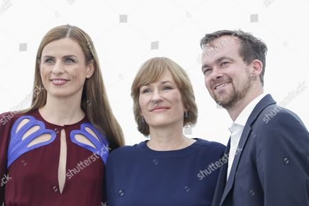 German producer Janine Jackowski (L), German director Valeska Grisebach and German producer Jonas Dornbach pose during the photocall for 'Western' at the 70th annual Cannes Film Festival, in Cannes, France, 18 May 2017. The movie is presented in the section Un Certain Regard of the festival which runs from 17 to 28 May.